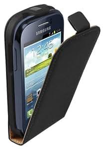 Ultra Slim Negro Funda de Cuero para Samsung Galaxy Young (GT-S6310 / S6312 Duos / Dual / S6310L / S6310N) - Flip Case Cover Con Tapa + 2 Protector de Pantalla