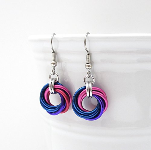 Bisexual pride earrings, chainmail love knot jewelry; pink, purple, blue