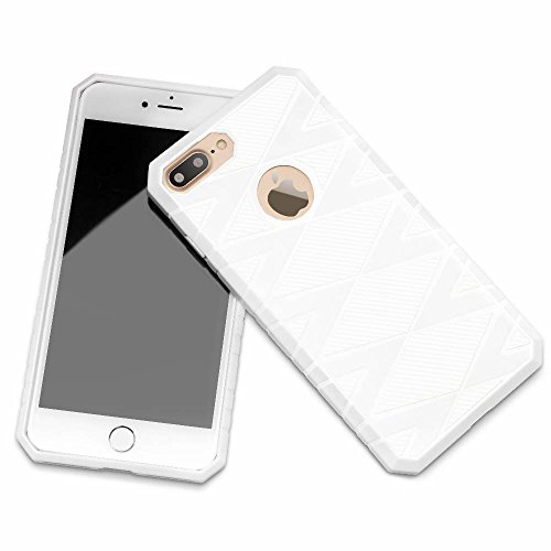 iPhone 7 Plus Funda, iSPECLE Fibra de Cabrono Funda Impermeable de iPhone 7 Plus con TPU Choque-absorición Protección Funda Carcasa para Apple iPhone 7 Plus Negro iPhone 7 Plus Funda Blanco
