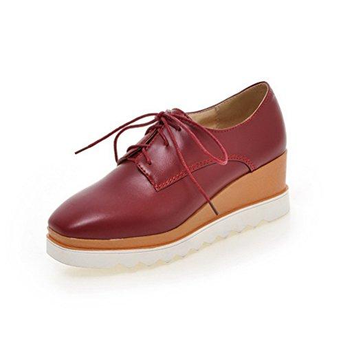 AllhqFashion Damen Schnüren Quadratisch Zehe Mittler Absatz Rein Pumps Schuhe Rot