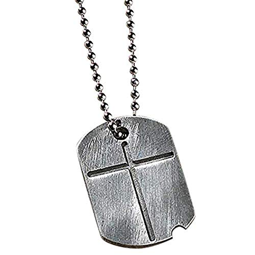Dicksons Two-Sided Dog Tag with Engraved Cross and Verse Pewter 21-Inch Pendant Necklace