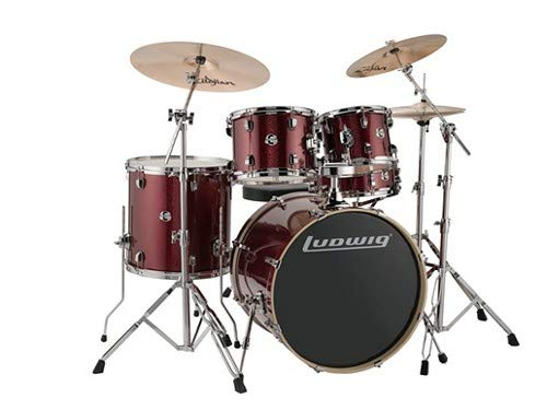 - Ludwig Drum Set, Red Sparkle (LCEE22025)