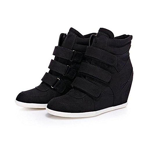 NSXZ Women's Fashion Height Increasing Short Boots 35-BLACK hI0ZaCO