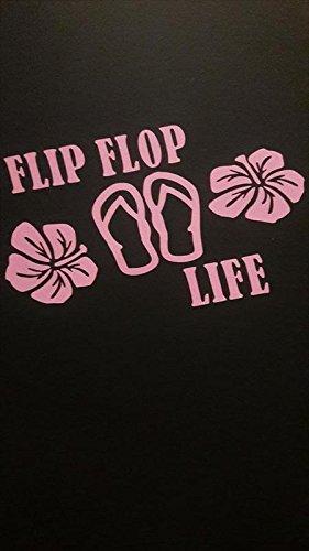Chase Grace Studio Flip Flop Life Sandals Tropical Hibiscus Flowers Vinyl Decal Sticker|Pink|Cars Trucks Vans SUV Laptops Wall Art|5.6