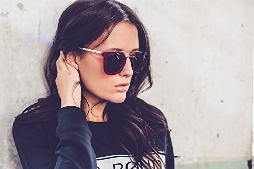 Cheapass Mujeres Rojas Sol Cafes Redondas XXL de Gafas Lentes Gafas Tintes Grandes UV400 xw7BtqxFgr