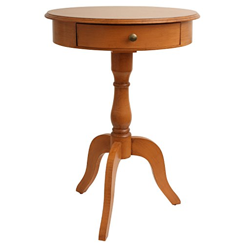 Pine Traditional End Table - Décor Therapy FR1791 Honey Pedestal Table, Pine Finish