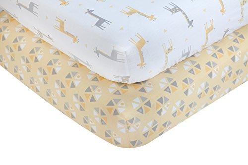 Yellow Crib Set (Little Love by NoJo Giraffe Time 2 Piece Sheet Set, Yellow)