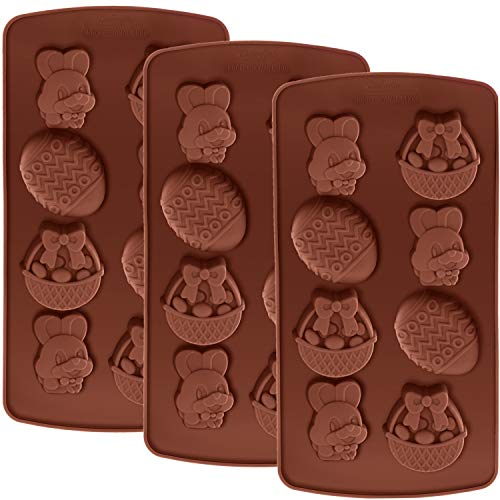 (Hestya 3 Pieces Easter Silicone Mold Bunny Egg Shape Molds Chocolate Cookie Mold for Easter Party Supplies)