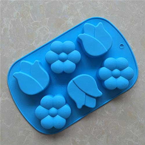 1 piece Food grade silica gel cake mold 6 continuous plum tulip handmade soap mold ()