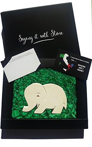 Valentine's Day present for Elephant lover - Handmade in Italy - Elegant gift box & message card - Rare stone contains fossil fragments. Symbol of Family Love, Strength, Patience. Birthday anniversary