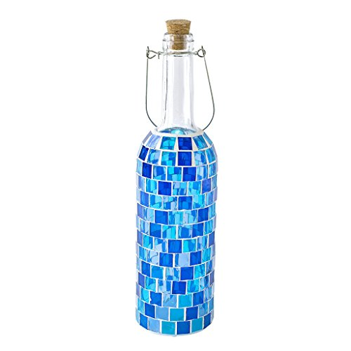 Time Concept Mosaic Bottle Lamp - Battery-Operated, LED Light - Block Blue