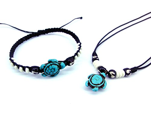 Necklace and Bracelet with Turtle in Turquoise Color Hawaiian Sea Turtle Bracelet Black Hemp (Cute Indian Costumes For Girls)