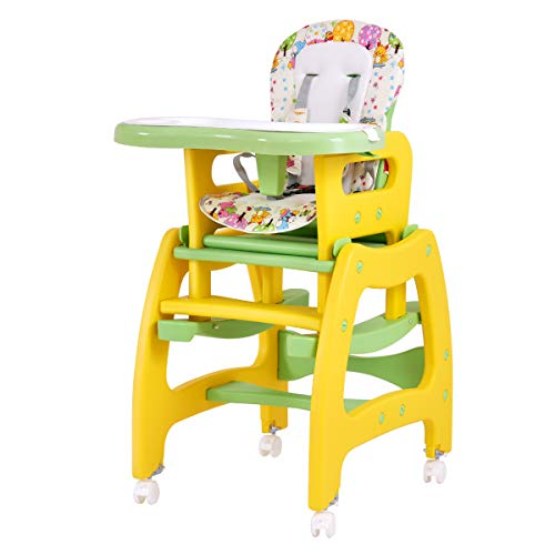 Costzon Baby High Chair, 3 in 1 Convertible Play Table Set, Booster Rocking Seat with Removable Feeding Tray, 5-Point Harness, Lockable Wheels (Yellow)