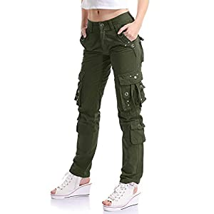 OCHENTA Women's Multi Pockets Utility Cargo Pant, Casual Cotton Straight Leg Workwears