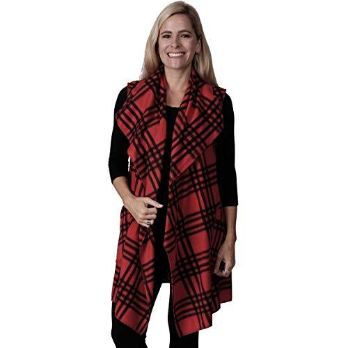 (Le Moda Women's Pleated Polar Fleece Vest (ONE SIZE,)