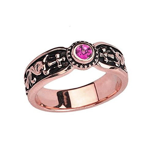 Fine 14k Rose Gold June Birthstone Solitaire Vintage Sideway Cross Wedding Band (Size 4.25) by Modern Contemporary Rings
