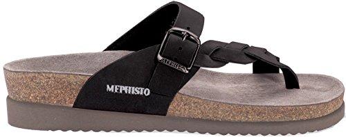 Mephisto Women's Helen Twist Flip Flop, Black Nubuck, 6 M US