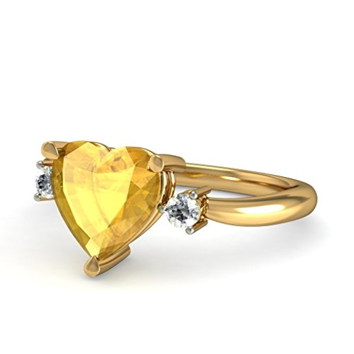 Or jaune 18 K, 0.06 CT TW Diamant Blanc (IJ | SI) Citrine et diamant Bague