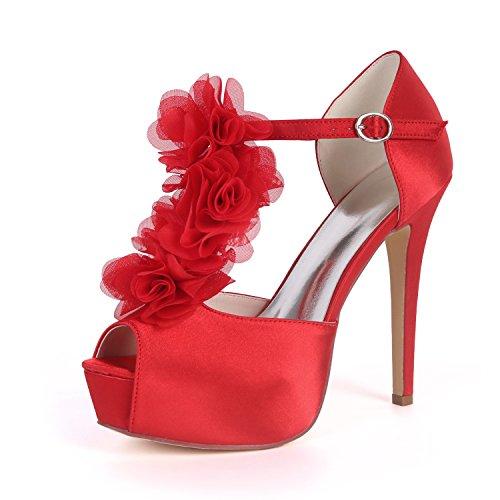 Cheville Peep Haute Mariage UK7 Talon Forme Ager Plate Chaussures Satin De Boucle Red Flower EU40 3128 Cour De Courroie Soirée Femmes Toe 37H xAgnpYqw0