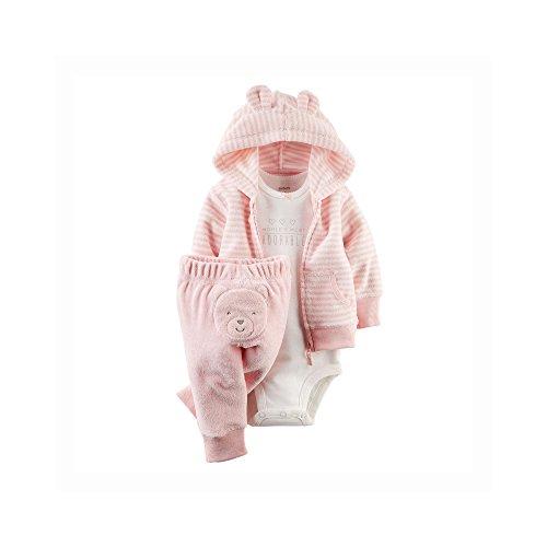 Carter's Baby Girls' 3 Piece Terry Cardigan Set (Baby) - Pink - 6M