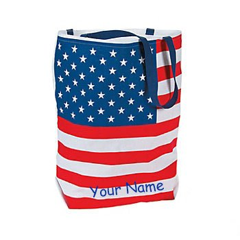 Fun Express Personalized Large Cotton Patriotic USA American Flag Fourth of July Tote Bag with Name - Express Tote