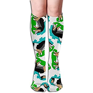 1950s Style Rough Collie Dog in Blue and Green Breathable Adult Knee High Sock Gym Outdoor Socks 50cm 19.7inch 1