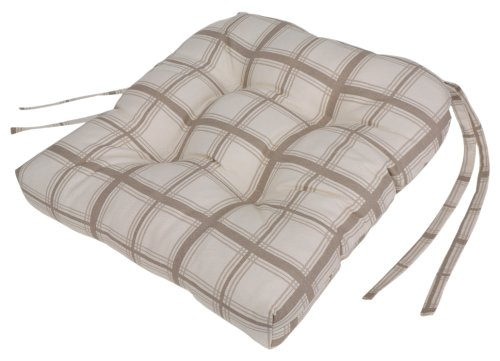 Logan Large Scale Plaid Cushioned Chair Pad, Linen