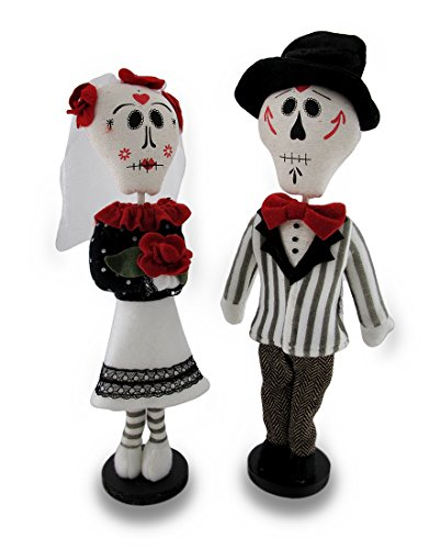 Polyester Statues Day Of The Dead Lovers Fabric Doll Stat...