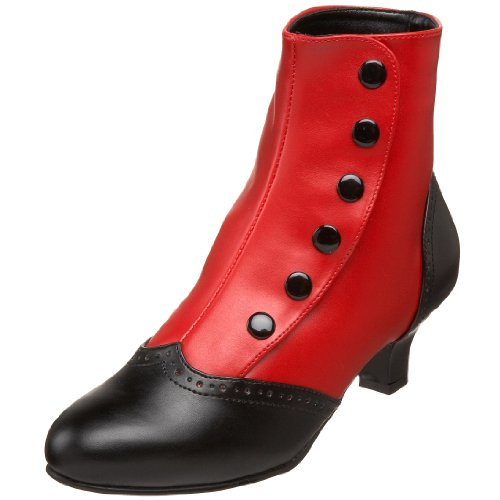 Bordello by Pleaser Women's Flora-1023 Boot,Red-Black Polyurethane,7 M US (Spat Boots)