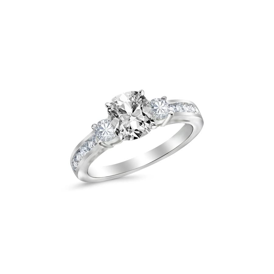 Houston Diamond District 14K White Gold 3 Stone Channel Set Diamond Engagement Ring with a 1.01 Carat GIA Certified Cushion Cut I Color VVS1 Clarity Center Stone
