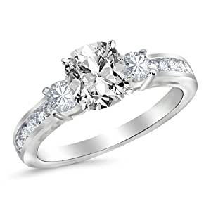 14K White Gold 3 Stone Channel Set Diamond Engagement Ring with a 1.01 Carat GIA Certified Cushion Cut I Color VVS1 Clarity Center Stone