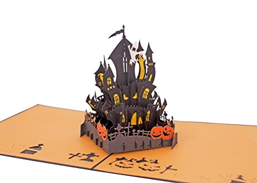 AITpop hand-crafted greeting card 3D Pop Up Card Card_Halloween castle (black) -