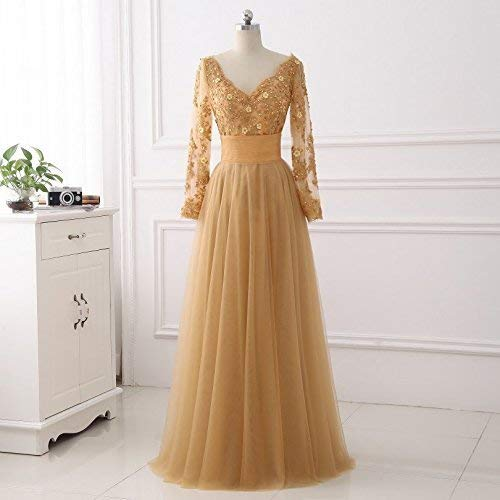 b451e040d5 Amazon.com: Gold Two Piece Sheath Mini Skirt Long Tulle Prom Dresses with Long  Sleeves: Handmade