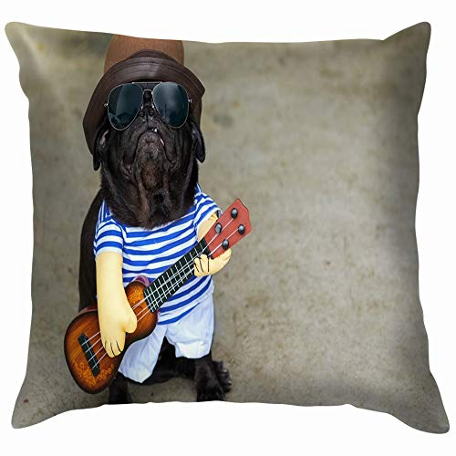 Indy Musician Guitarist Pug Dog Funny Animals Wildlife Cotton Linen Home Decorative Throw Pillow Case Cushion Cover for Sofa Couch 12X12 Inch ()