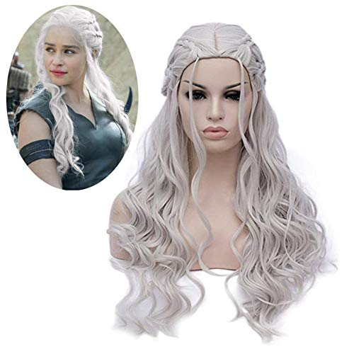 Mersi Khaleesi Wig Daenerys Targaryen Cosplay Wigs Long Silver Braided Party Hair Wigs for Halloween Cosplay (Silver) S039S]()