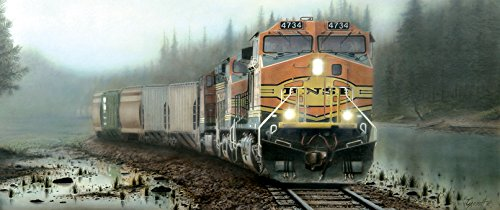 (S RAILROAD JIGSAW PUZZLE - BNSF Giants in the Fog & Mist)