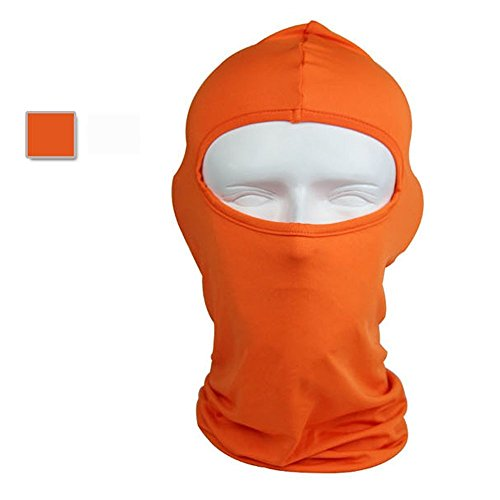 Ezyoutdoor Full Face Mask Motorcycle Breathable Balaclava Cap Headgear Tactical Protect Sunscree Running Mask (Orange)