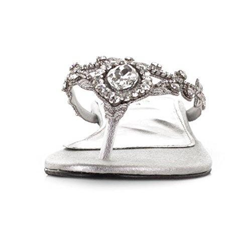 Scarpe Large Womens Argento Sposa Da Matrimoni Per Diamante Toe Post Gem nnXBrZ