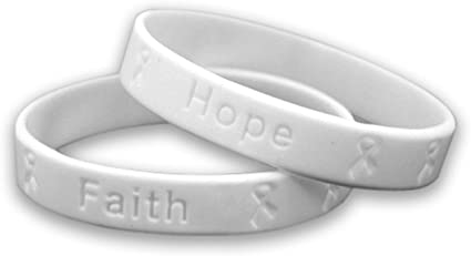 Fundraising For A Cause Lung Cancer Awareness White Ribbon Bracelets Wholesale SILBA-15