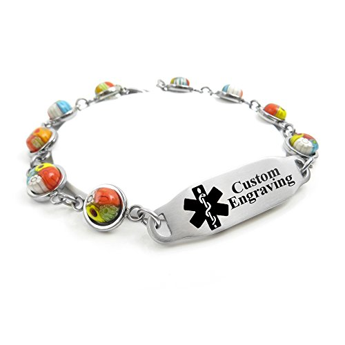 MyIDDr Medical Bracelet for Women Free Engraving - 1cm Steel & Glass - Black by My Identity Doctor