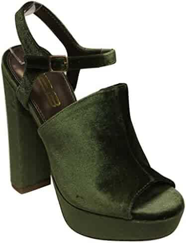 ba23339c12 X2B Fern-3 Women's peep Toe Platform Slingback Chunky Heel Velvet high Heel  Sandals