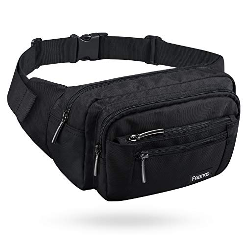 FREETOO Waist Pack Bag Fanny Pack for Men&Women Hip Bum Bag with Adjustable Strap for Outdoors Workout Traveling Casual Running Hiking Cycling (Black)]()