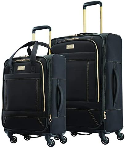 American Tourister Belle Voyage Softside Luggage with Spinner Wheels, Black, 2-Piece Set (21/25)
