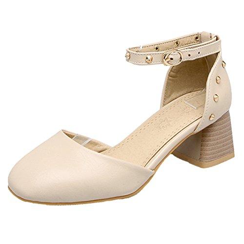 AIYOUMEI Damen Blockabsatz knöchelriemchen Pumps mit Nieten und 5cm Absatz Schuhe Beige