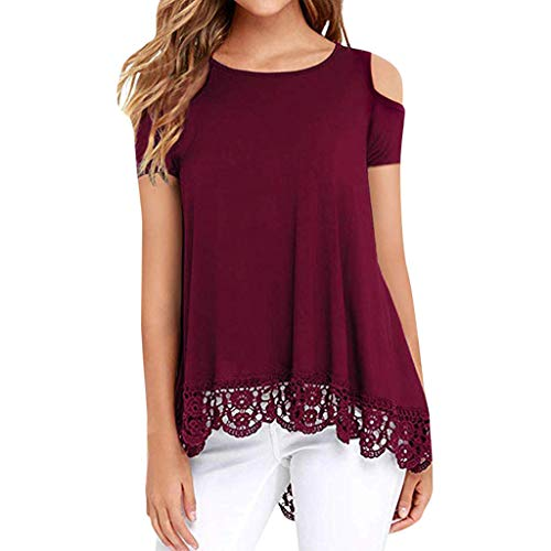 TANGSen Women O-Neck Lace Short Sleeve Shirt Strapless Shoulder Solid Casual Print Top Loose Fashion Summer Blouse Red