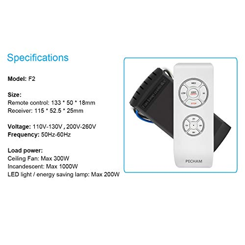 PECHAM Universal Lamp Kit & Timing Wireless Remote Control for Ceiling Fan, Scope of Application [Home/Office/Hotel/The Club/Display Hall/Restaurant] by PECHAM (Image #6)