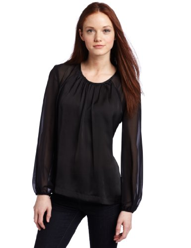 Kenneth Cole New York Women's Petite Mixed Media Blouse