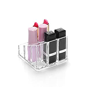 Sooyee 9 Compartments Clear Acrylic Small Lipstick and Lip Gloss Holder Makeup Brushes Nail Polish and Bottles Organizer Rack Highest Quality Cosmetic Display Cases Countertop 3.5 x 3.5 x 2.5 inches