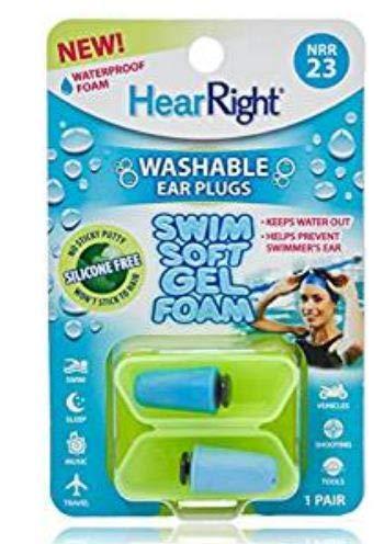 HearRight Swim Soft Ear Plugs Waterproof Ear Plugs for Swimmers Ear (3-Pack) ()
