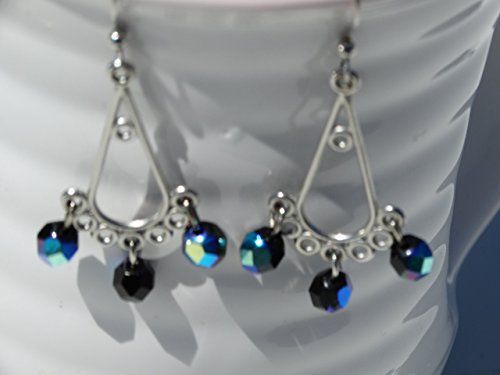 Blue Faceted Glass Dangle Chandelier Earrings -